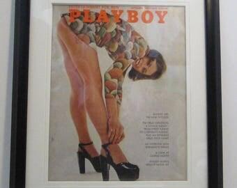 Vintage Playboy Magazine Cover Matted Framed : September 1972 - Sandra Jozefski