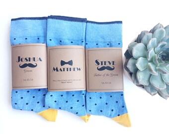Blue Polka Wedding Socks / Best Man Socks / Custom Men's Socks / Groomsmen Gifts / Wedding Favors with Personalized Band / Cold Feet Socks