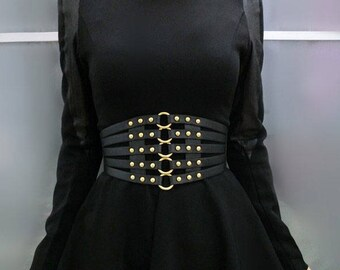 Fashionable PU waistband, waist corset belt with metal rings and rivet at front #BT17010