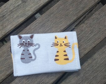 yellow and Brown and grey cats card holder