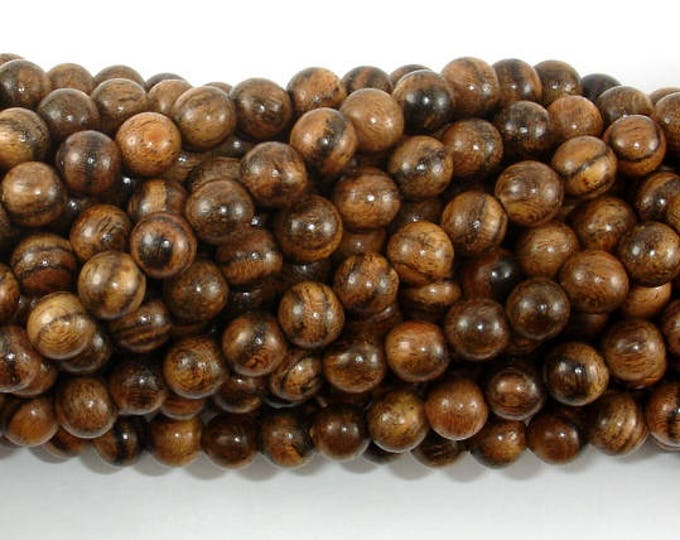 Tiger Skin Sandalwood Beads, 6mm Round Beads, 26 Inch, Full strand, Approx 108 Beads, Mala Beads (011744001)