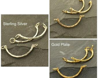 Sterling Silver, Hammer Finish, Curved Festoon, Curved Bar, Hammered Festoon, Hammered Silver, Silver Curved Bar, Charm Link, Silver Link