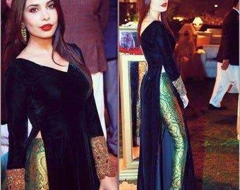 Black Velvet Long Dress, Side Slit, V-Neck, Full Sleeves Inspired by Designer Maheen Taseer