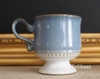 Denby, Vintage Denby, Denby Castile, Denby Castile Mugs, Blue and White Mugs, Blue Denby, Footed Mugs, Denby of England