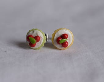 Cute Pastel Cupcake Stud Earrings With Cherries on Top Made with Polymer Clay