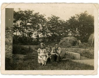 vintage photo Rural Family Snap. vernacular photos snapshot, brother sister,mom dad parents son, country side, farmers