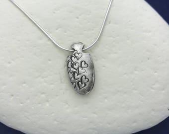Floating Heart Reversible Silver Pendant