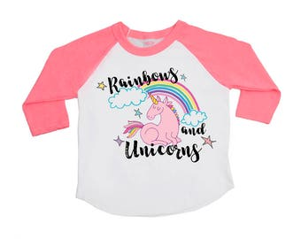 Unicorn Shirts - Rainbows and Unicorns - Girls' Shirts - Trendy Girls' Tees - Unicorns Birthday  - Be a Unicorn - Girls' Clothing - Birthday