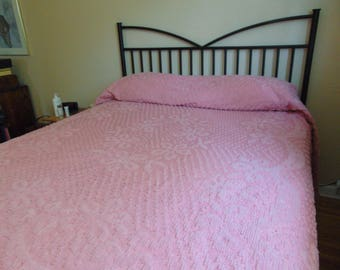 Vintage Dusty Rose, Pink Floral Chenille Bedspread, Queen Size