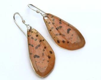 Peach Moth Earrings on sterling silver fish-hook earrings