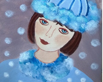 Winter - girl in my series naive romantic canvas 20 x 20