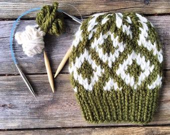 The Sedona || the Hand Knit Diamond Fair Isle Beanie //