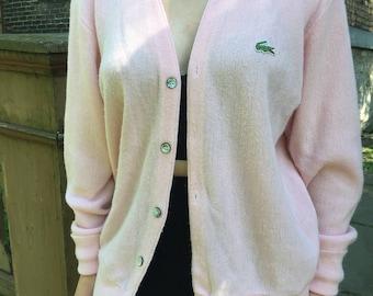 Vintage 80s Pink Izod Lacoste Cardigan • Izod Lacoste Sweater • Size Medium