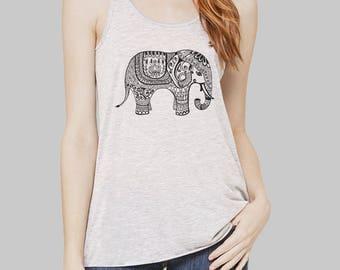 Elephant - Elephant Tank Top, Womens Clothing, Tank Tops, Graphic Tanks For Women, Bella Flowy Tank Top, Yoga Tank Top