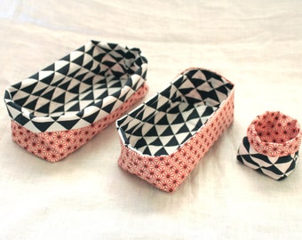 Matching red and Navy and white nesting baskets