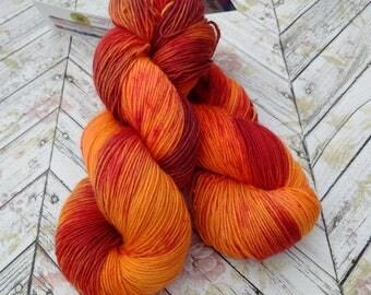 Squishy Sock Yarn, Hand Dyed Yarn, Merino 8 ply, Nylon SW, 430 yards