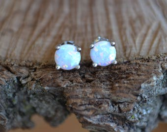 Opal earrings, sterling silver opal earrings, opal jewelry, natural opal,  (E878)