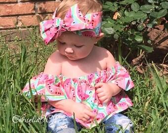 Flutter Tops, Watermelon Flutter Top, baby tops, girls tops, off the shoulder tops, flutter baby tops, tops, flutter girls tops