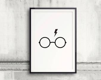 Harry Potter Poster, Glasses and Scar, Lightning Bolt, Deathly Hallows