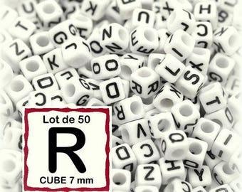 "cube alphabet ""R"" 7mm - letter beads 50 beads"