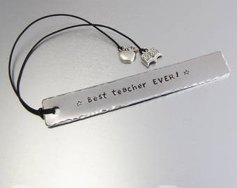 Teacher Gift Metal bookmark Hand-stamped aluminium with apple and open book charms on leather cord