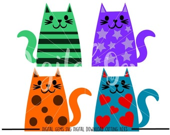 Kawaii Cats svg / dxf / eps / png files. Digital download. Compatible with Cricut and Silhouette machines. Small commercial use ok.