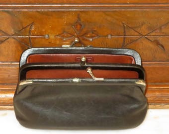 Coach Double Purse In Black Leather Style No 7180-Rare Bag- Beautifully Worn