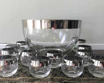 Dorothy Thorpe Style Silver Rimmed Roly Poly Punch Bowl Set with 12 Glasses - Gorgeous!