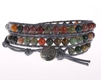 Leather wrap bracelet 6mm India Agate bead bracelet women boho bead wrap bracelet leather bracelet gemstone bracelet natural stone Jewelry