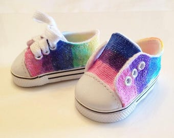 Easter Rainbow shoes and Rainbow Unicorn phone for American girls and all 18 inch dolls. Summer, Spring, Rainbow, Unicorn, Glitter!