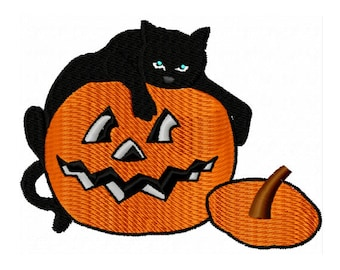 Black Cat Embroidery Design - Pumpkin Embroidery Design - Halloween Embroidery Design - Jack O Lantern Embroidery Design - Halloween Cat
