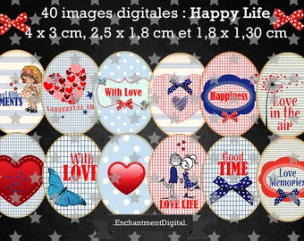 digital images * love vintage * love heart red blue happy bow collage digital scrapbooking cabochon jewel