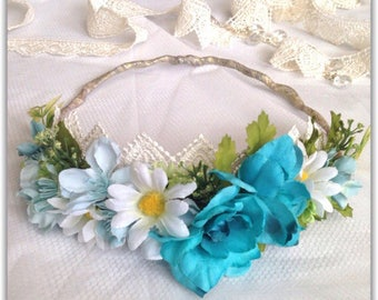 flower crown, hippie style, turquoise.