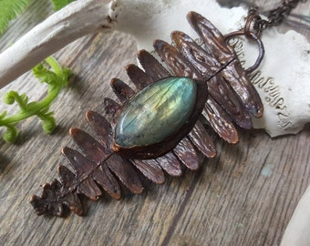 Electroformed labradorite fern necklace - copper real plant plated magic magickal spring flower crystal copper jewelry