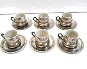 """set of 6 vintage porcelain cups and saucers """"H. Waldenberg, Bavaria"""", pewter coffee set"""