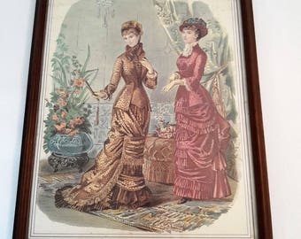 Victorian hand colored picture from antique french fashion magazine page, 1870's
