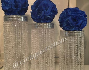 Chandelier Centerpieces with Mirrored Top (3pc Set)
