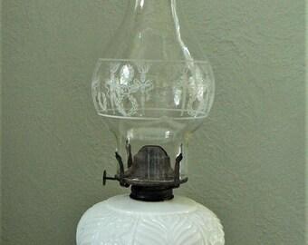 ON SALE Antique Style Lamplight Farms Milk Glass Oil Lamp, Vintage Oil Lamp, Hurricane Lamp