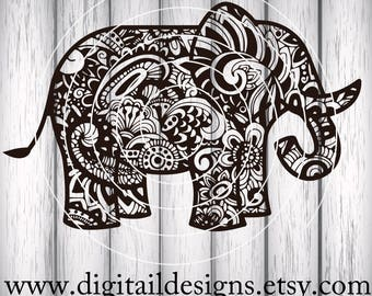 Zentangle Elephant SVG - dxf - fcm - eps - ai -png - Cut File - Silhouette - Cricut -Scan N Cut -Doodle Elephant SVG - Mandala Elephant