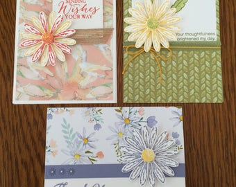 Set of 3 daisy themed all occasion handmade cards