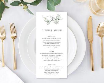 Wedding Menu, Custom Printable Menu, Watercolour Leaf, Wreath, Monogram, DIY Wedding, Print Your Own, Digital, Natural Suite