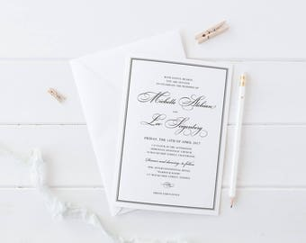Black and White Modern Wedding Invitation, Digital Printable or Professionally Printed, Calligraphy Wedding, Luxury Cardstock, Peach Perfect