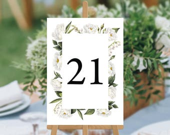 SALE, Professionally Printed Wedding Table Numbers, Watercolour White Florals Flowers, Wedding Table Cards, Mandy Suite