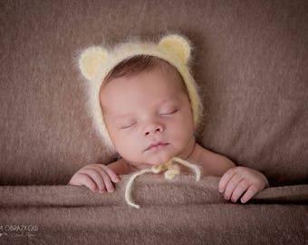 ANGORA Newborn Earflap Teddy Bear, Hat Newborn Photography , Angora  Newborn hat with ears, photography props , Newborn props,Newborn bonnet