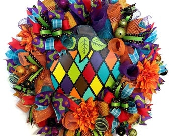 XL Fall Pumpkin Deco Mesh Wreath, Halloween Front Door Wreath, Harlequin Pumpkin Wreath, Thanksgiving Wreath, Halloween Decor, Ready to Ship