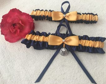 Navy blue garter with Gold satin center and bow garter set, Rhinestone and US Navy pendant, Wedding garter, Bridal garter set, Custom garter
