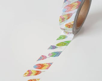 Colorful Rainbow Feathers Washi Tape - Full Roll