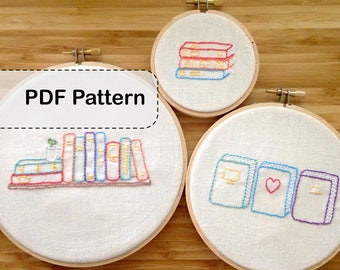 Library Book Stacks DIY Embroidery Pattern PDF