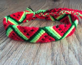 Friendship Bracelet 8-9''.Handwoven.Friendship jewelry.Father's Day.Handmade.Wrap Knotted Braided .Best friend present.Fruit.Neon.Watermelon