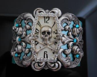 Funky Skull Cuff | Blue Skull Cuff | Watch Cuff | Whimsical Jewelry | Statement Cuff | Skull Jewelry